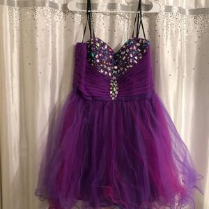 Gorgeous purple formal dress with lots of bling!